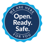We are here for you - badge
